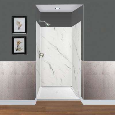 Expressions 48 in. x 48 in. x 72 in. 3-Piece Easy Up Adhesive Alcove Shower Wall Surround in Bianca