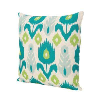 Floral Teal and Green Square Outdoor Throw Pillow