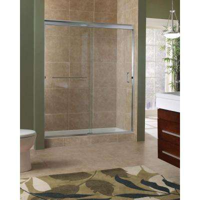 Marina 48 in. x 76 in. H Semi-Framed Sliding Shower Door in Brushed Nickel with 3/8 in. Clear Glass