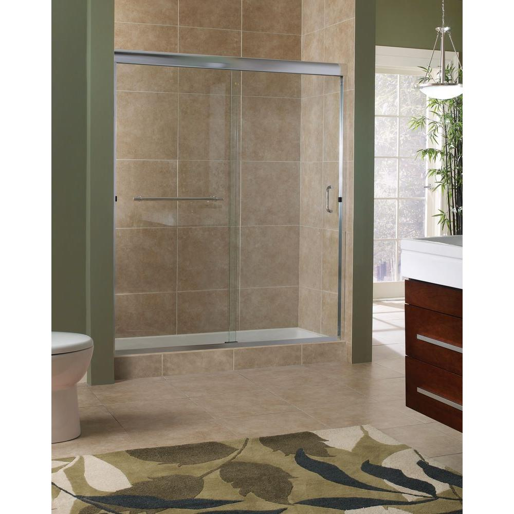 Foremost Marina 60 in. x 76 in. H Semi-Framed Sliding Tub Door in Silver with 3/8 in. Clear Glass