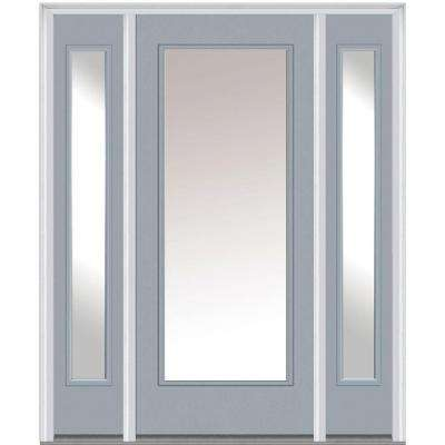 64 in. x 80 in. Classic Right-Hand Inswing Full Lite Clear Painted Fiberglass Smooth Prehung Front Door with Sidelites