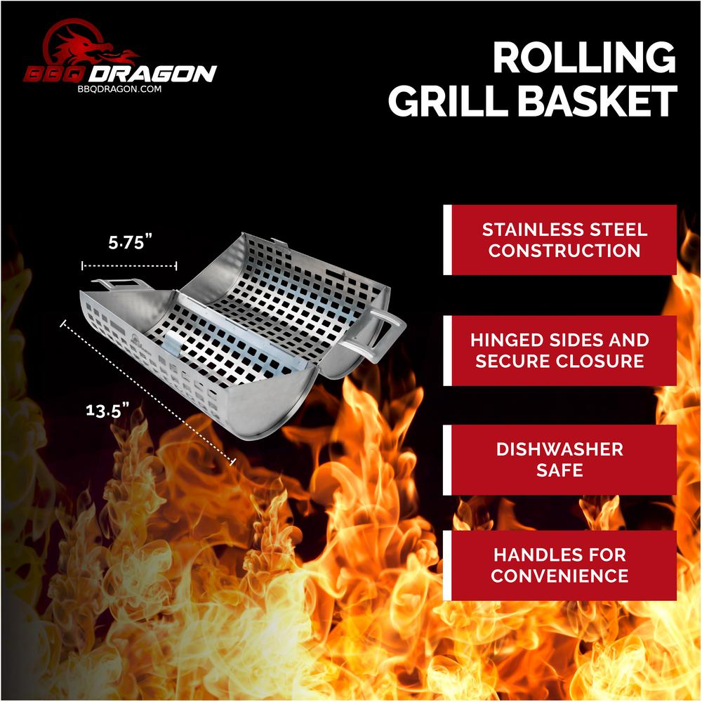 BBQ Dragon Rolling Grill Basket The only grill top veggie basket in the shape of a cylinder, lets you turn your food by just rolling the basket. Snap it open, toss in some shrimp or veggies, snap it closed, and grill. So easy and simple.