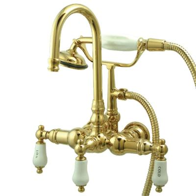 Traditional 3-3/8 in. Center 3-Handle Claw Foot Tub Faucet with Handshower in Polished Brass