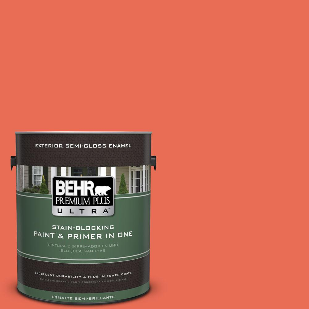 BEHR Premium Plus Ultra 1-gal. #190B-6 Wet Coral Semi-Gloss Enamel Exterior Paint
