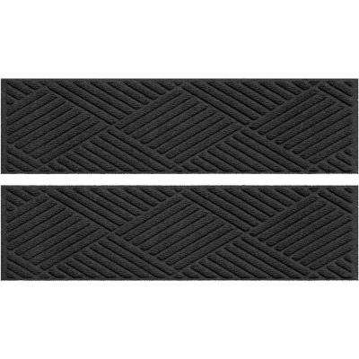 Charcoal 8.5 in. x 30 in. Diamonds Stair Tread Cover (Set of 4)