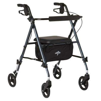 Freedom Ultra-Light Folding 4-Wheel Rollator in Smokey Blue