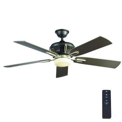 Johns Creek 56 in. Integrated LED Indoor Brushed Nickel Ceiling Fan with Light Kit and Remote Control