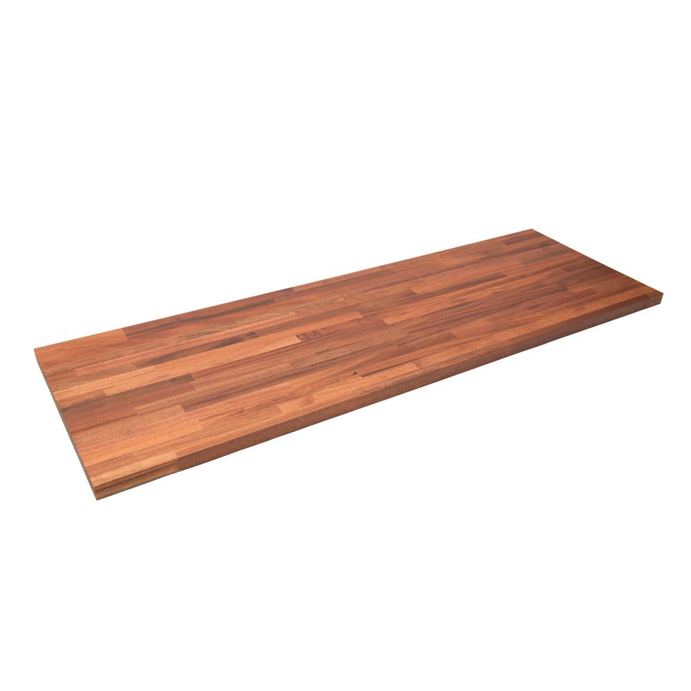 Hardwood Reflections 8 ft. 2 in. L x 2 ft. 1 in. D x 1.5 in. T Butcher Block Countertop in Unfinished Sapele
