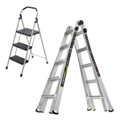 22 ft. MPX Multi-Position Ladder/Gorilla Ladders 3-Step Lightweight Steel Step Stool (Combo Pack)