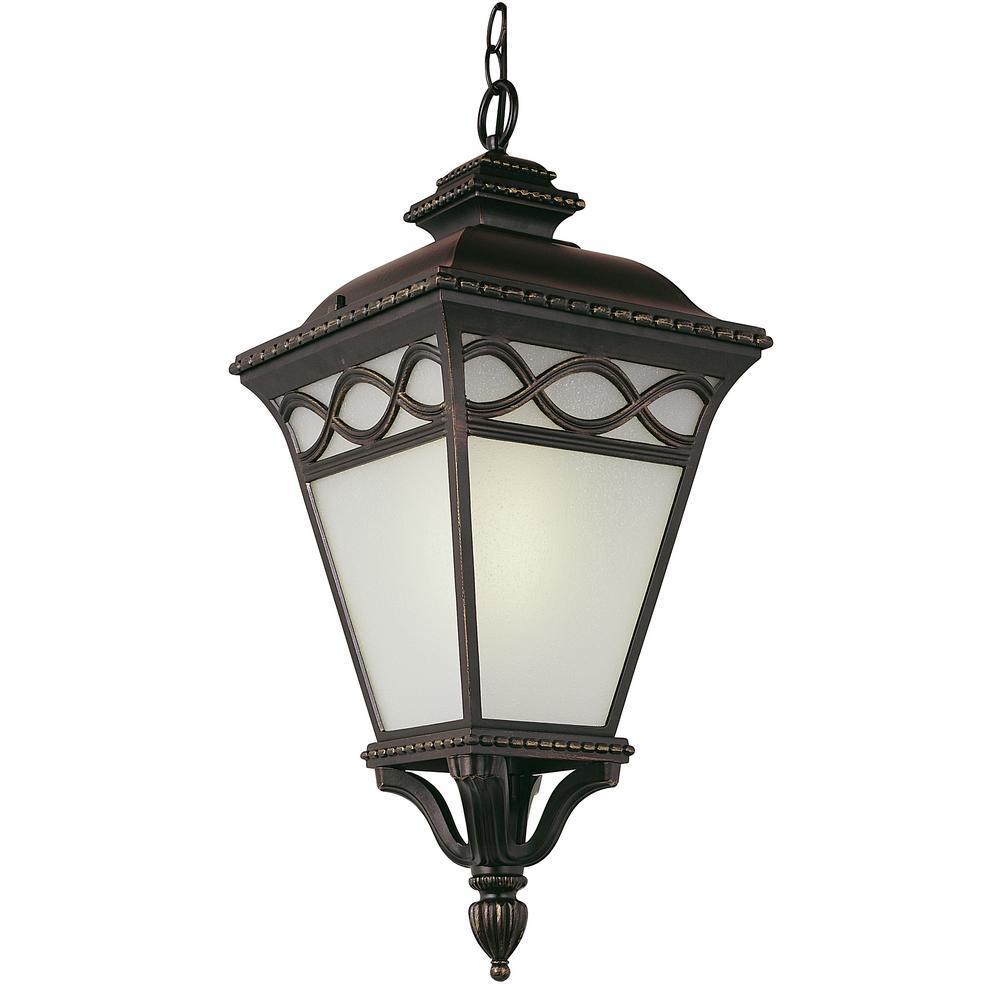 Dublin 25 in. 1-Light Black Outdoor Hanging Lantern