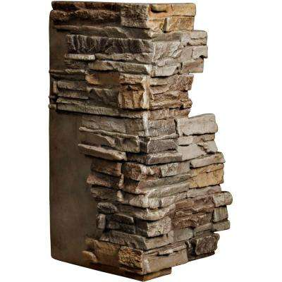 1-1/2 in. x 13-3/4 in. x 25 in. Terrastone Urethane Stacked Stone Outer Corner Wall Panel