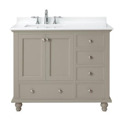 Orillia 42 in. W x 22 in. D Vanity in Greige with Marble Vanity Top in White with White Sink