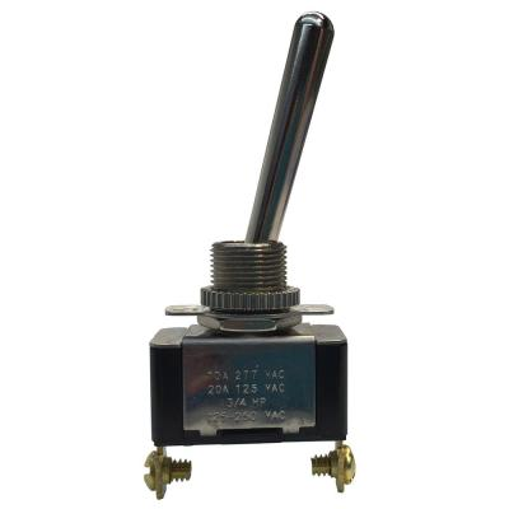 Long Bat Handle Toggle Switch SPST 20 Amp 125-Volt AC (Case of 5)