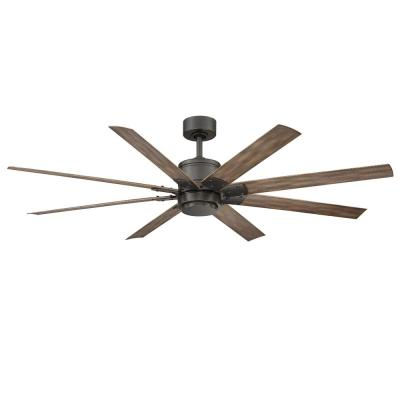 Renegade 66 in. Integrated LED Indoor/Outdoor Oil Rubbed Bronze 8-Blade Smart Ceiling Fan with Light Kit and Remote