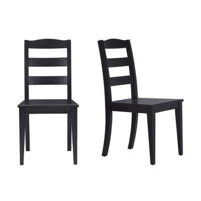StyleWell Black Wood Dining Chair with Ladder Back (Set of 2) (17.72 in. W x 36.77 in. H)