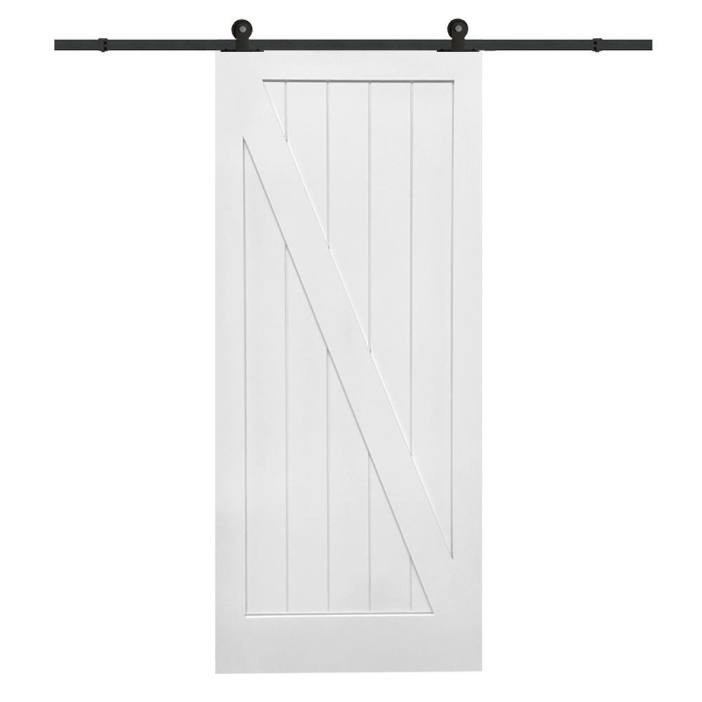 36 in. x 84 in. Primed Z-Plank MDF Barn Door with Sliding Door Hardware Kit