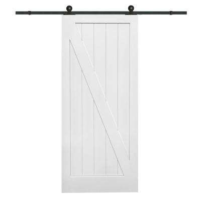 42 in. x 84 in. Primed Z-Plank MDF Barn Door with Sliding Door Hardware Kit