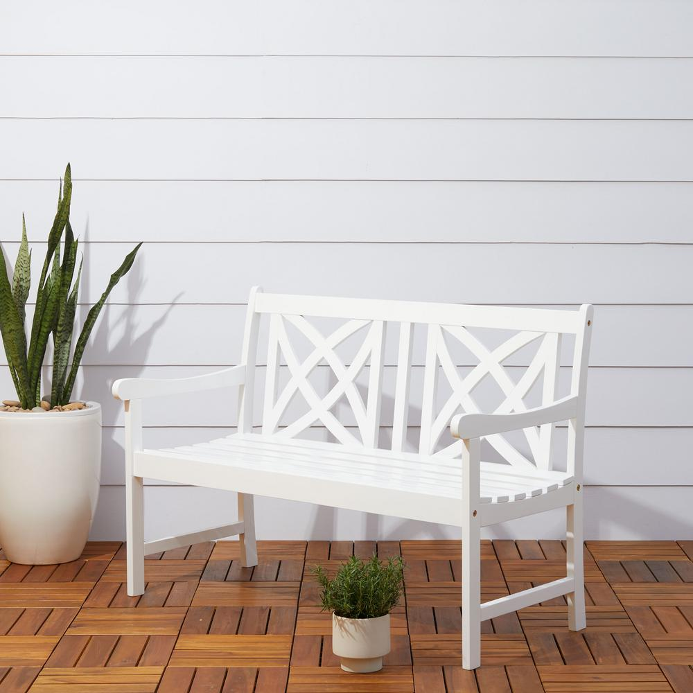 Vifah Bradley 4 Ft White Acacia Outdoor Bench V1713 The