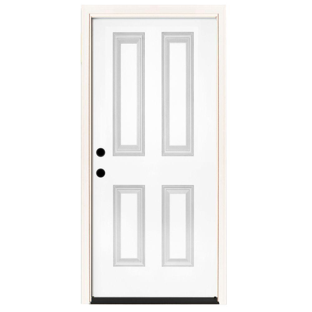 Steves & Sons 36 in. x 80 in. Premium 4-Panel Primed White Steel Prehung Front Door with 36 in. Right-Hand Inswing with 4 in. Wall