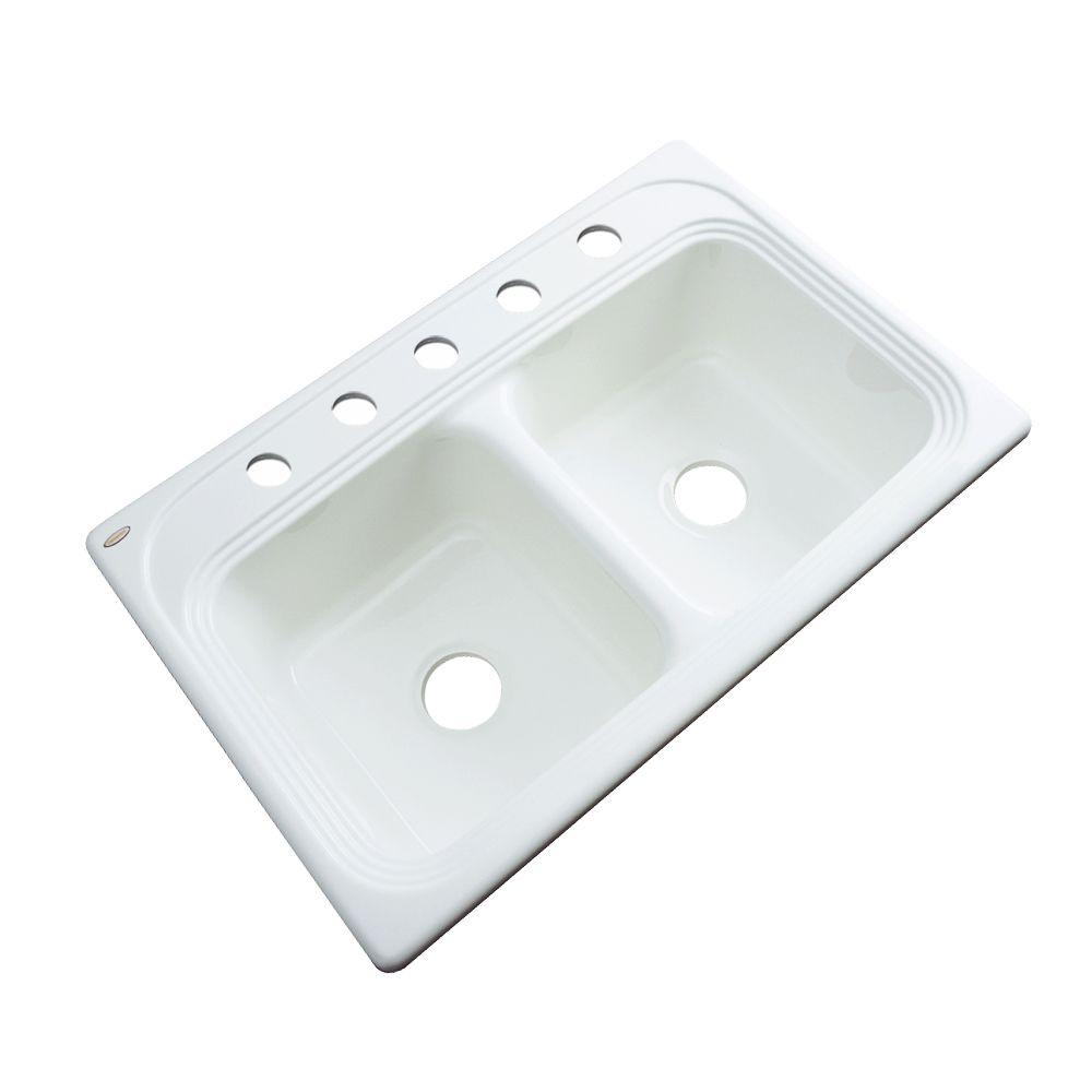 Thermocast Chesapeake Drop-In Acrylic 33 in. 5-Hole Double Bowl Kitchen Sink in White