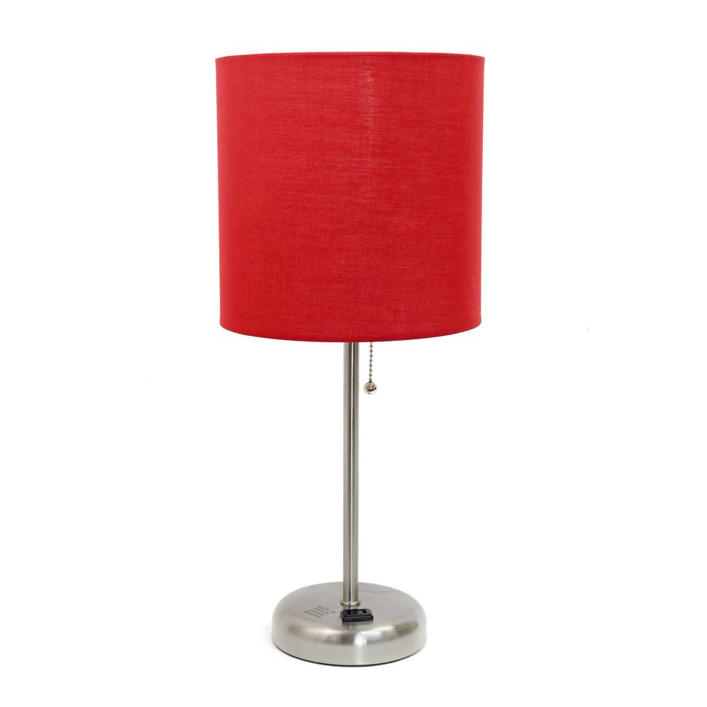 Stick Lamp With Charging Outlet And Red Fabric Shade