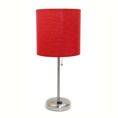 19.5 in. Stick Lamp with Charging Outlet and Red Fabric Shade