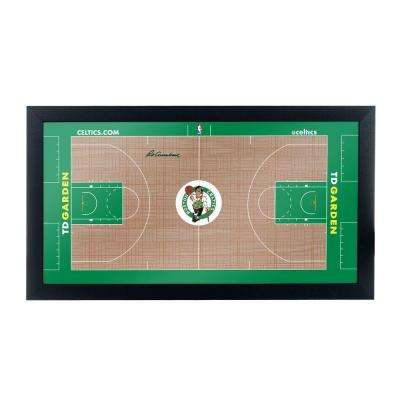 Boston Celtics Official NBA Court 15 in. x 26 in. Black Framed Plaque