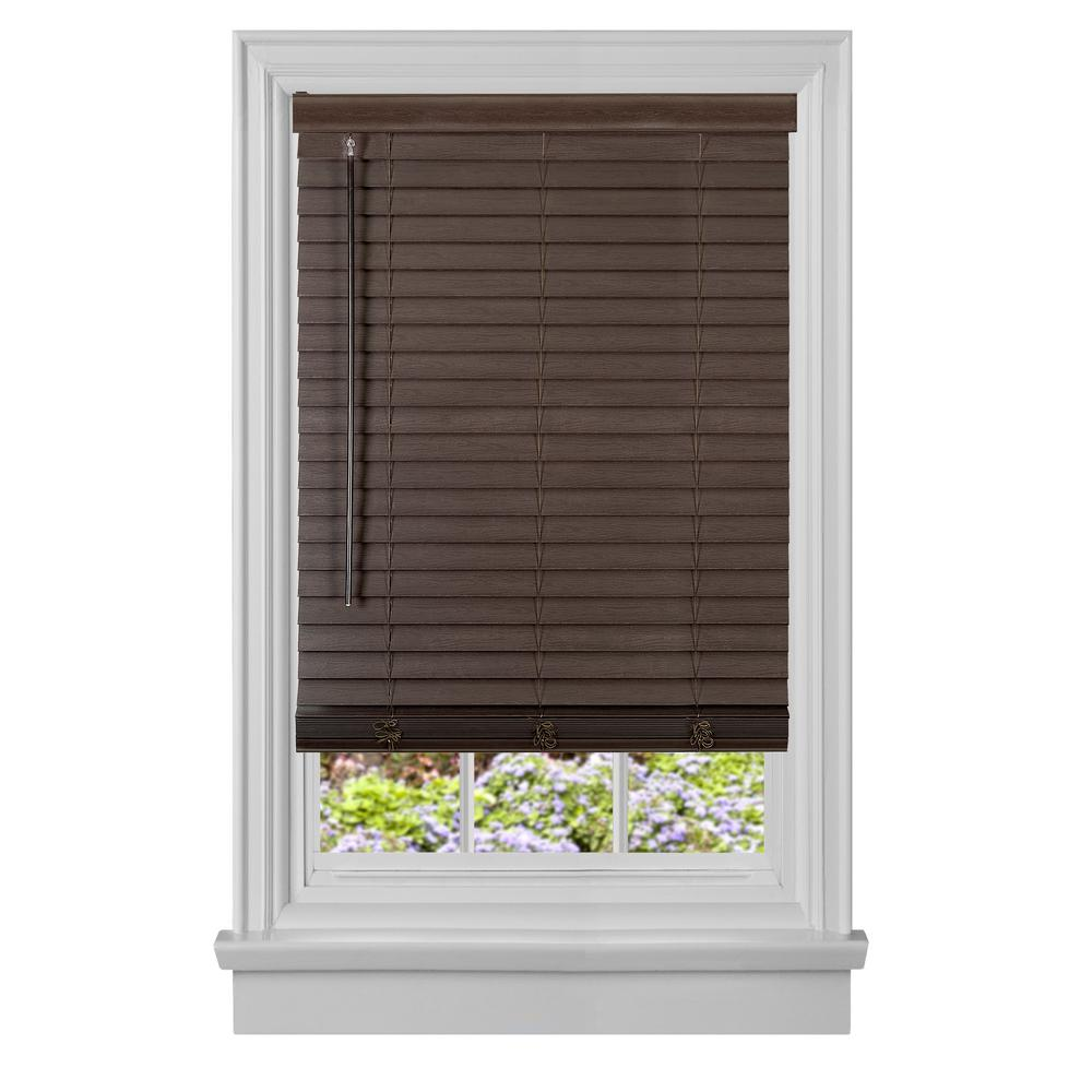 GII Madera Falsa Mahogany Cordless Faux Wood Plantation Blind - 32