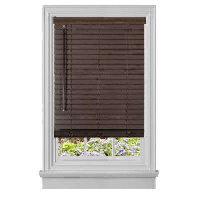 Cut-to-Width GII Madera Falsa Mahogany 2 in. Cordless Faux Wood Plantation Blind - 48 in. W x 64 in. L