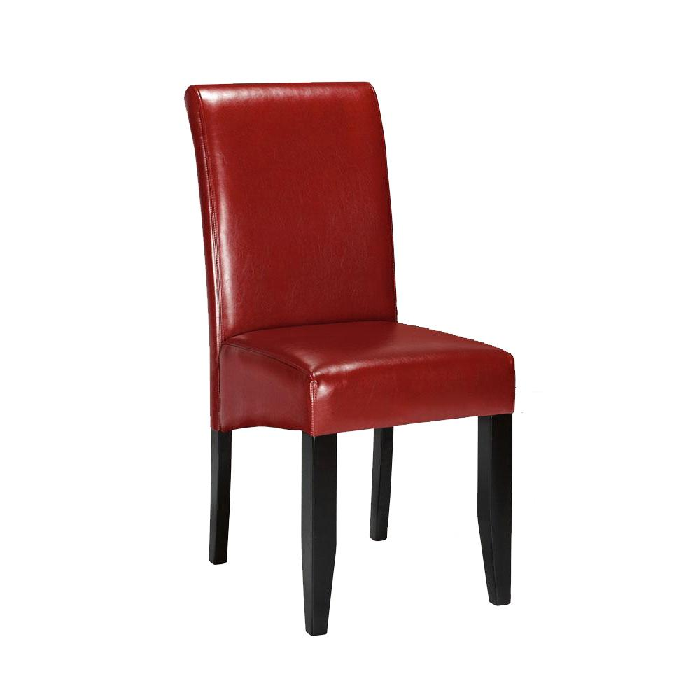 Home Decorators Collection Home Decorators Collection Parsons Red Bonded Leather Rolled Back Dining Chair