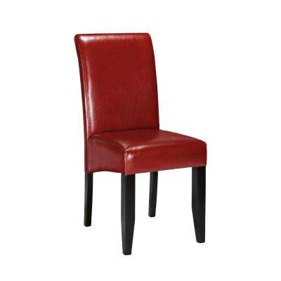 Parsons Red Bonded Leather Rolled Back Dining Chair