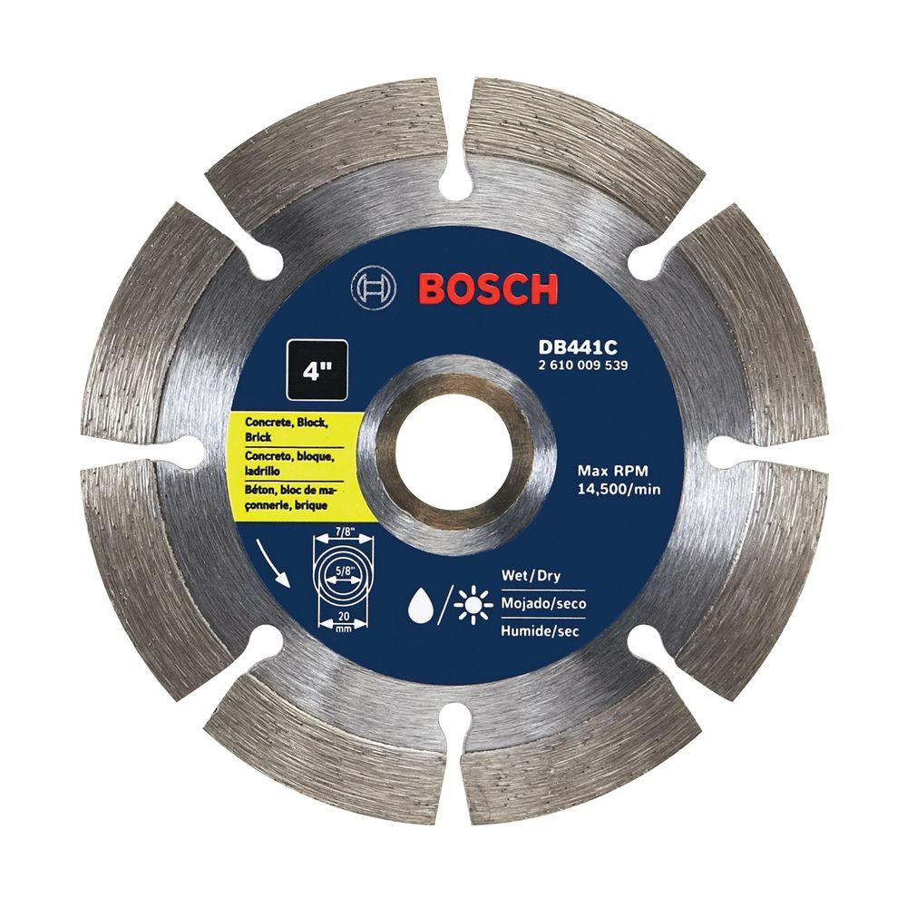 4 in. Segmented Rim Diamond Circular Saw Blade for Concrete, Block,