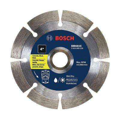 4 in. Segmented Rim Diamond Circular Saw Blade for Concrete, Block, and Brick
