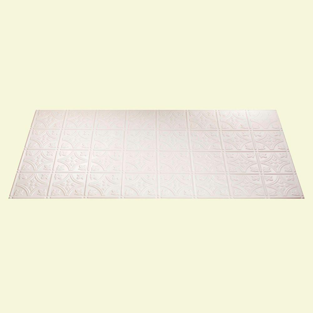 Fasade Traditional 1 2 ft. x 4 ft. Gloss White Lay-in Ceiling Tile