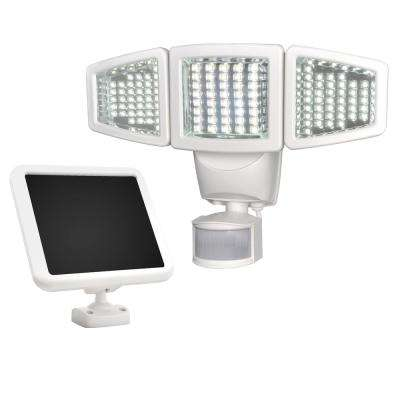 Solar 180 Degree White Motion Activated Outdoor 120 LED Triple Head Integrated LED Area Light