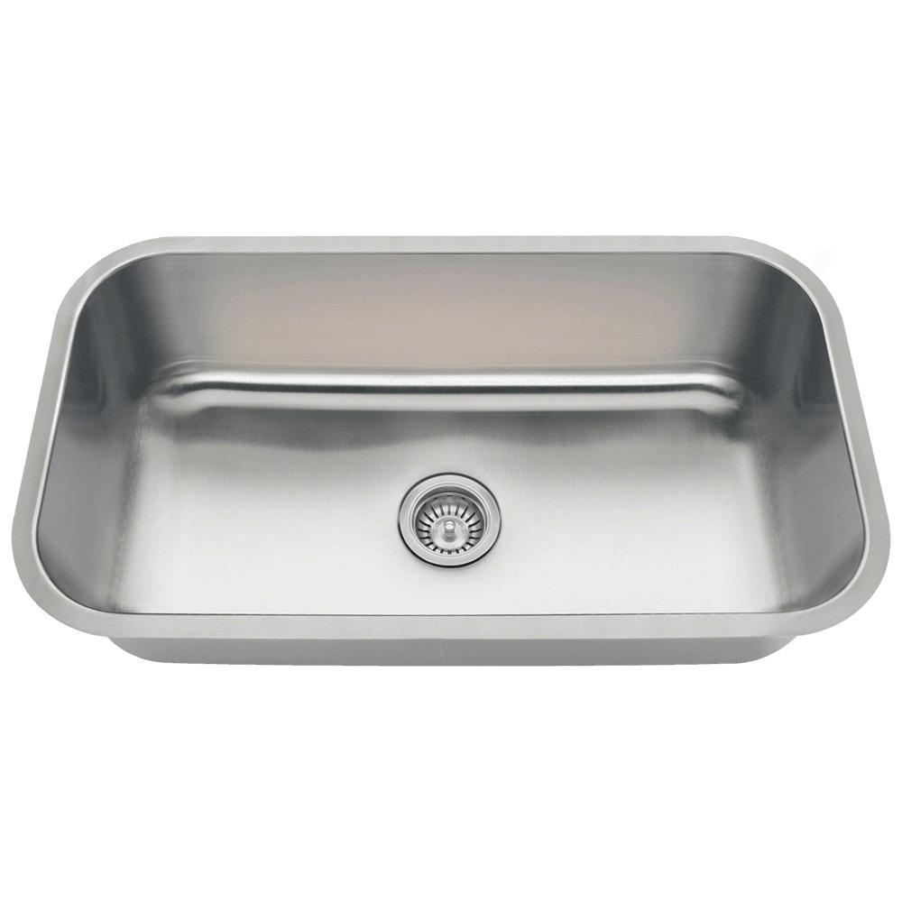Undermount Stainless Steel 32 in. Single Bowl Kitchen Sink in 16-Gauge