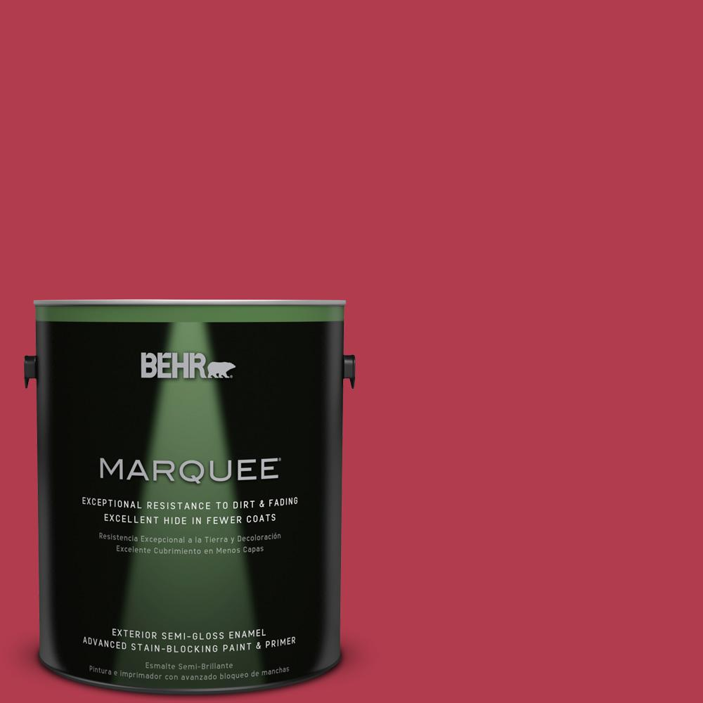 BEHR MARQUEE 1-gal. #HDC-SM14-10 Intrigue Red Semi-Gloss Enamel Exterior Paint