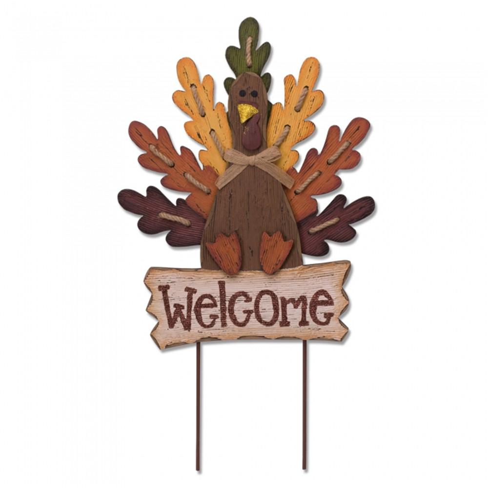 24.62 in. H Burlap Wooden Welcome Turkey Yard Sign