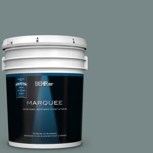 Behr Marquee 5 Gal Ppu12 16 Juniper Ash Semi Gloss Enamel Exterior Paint And Primer In One 545305 The Home Depot