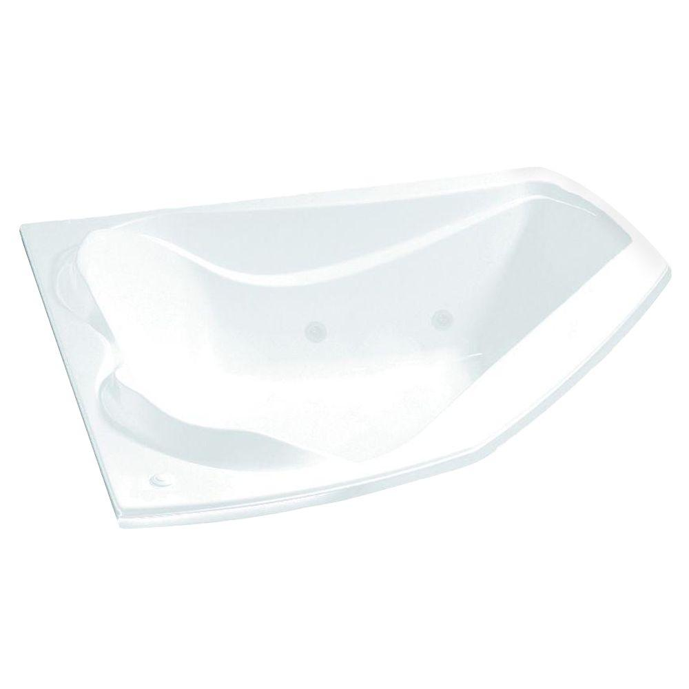 MAAX Cocoon 5 ft. Acrylic End Drain Corner Drop-in Soaking Bathtub ...