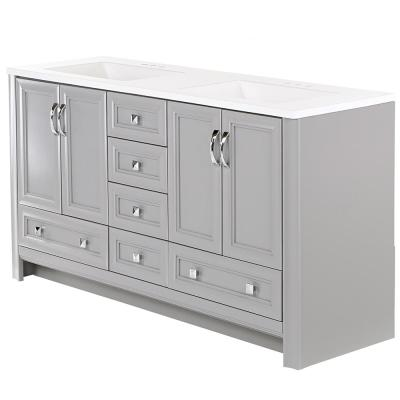 Candlesby 60 in. W x 19 in. D Bath Vanity in Sterling Gray with Cultured Marble Vanity Top in White w/ White Sink