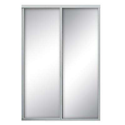 96 in. x 81 in. Concord Bright Clear Aluminum Framed Mirror Sliding Door