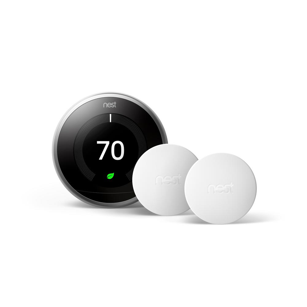 Google Nest Learning Thermostat 3rd Gen in Stainless Steel and Google Nest Temperature Sensor (2-Pack) - Home Depot Exclusive