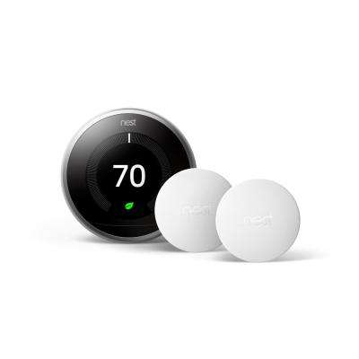 Smart Learning Wi-Fi Programmable Thermostat, 3rd Gen, Stainless Steel w/ Temperature Sensor