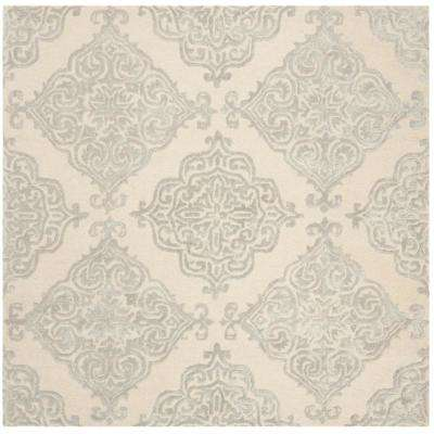 Glamour Ivory/Silver 6 ft. x 6 ft. Square Area Rug