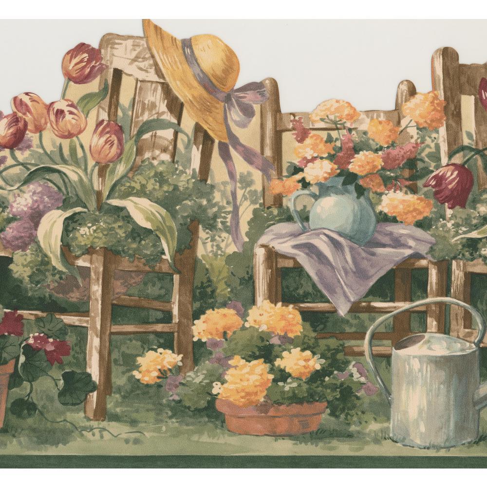 Retro Art Floral Gardening Prepasted Wallpaper Border 5503083 The Home Depot