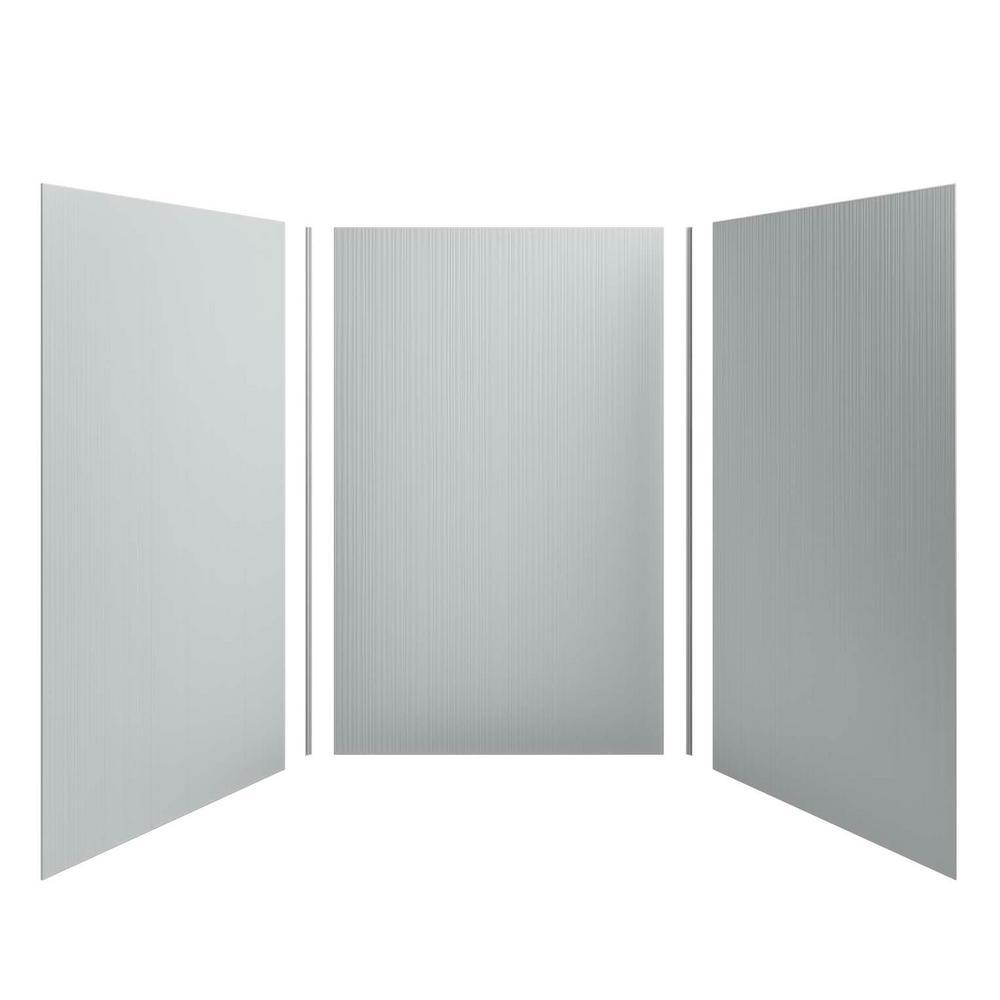 KOHLER Choreograph 60 in. x 96 in. 3-Piece Easy Up Adhesive Alcove Shower Surround Walls with Cord Texture in Ice Grey
