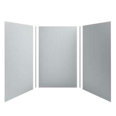 Choreograph 60 in. x 96 in. 3-Piece Easy Up Adhesive Alcove Shower Surround Walls with Cord Texture in Ice Grey