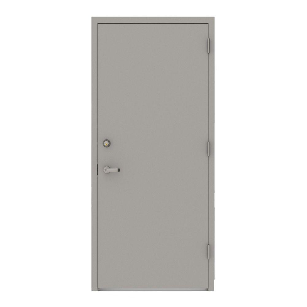 30 In. X 80 In. Gray Flush Left Hand Security Steel Prehung