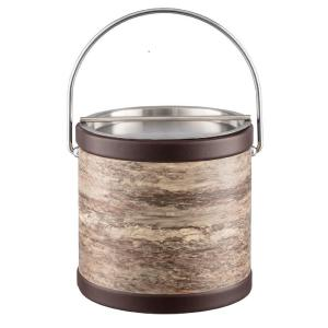 Quarry Brown Stone 3 Qt. Ice Bucket with Bale Handle and Metal Bar Lid
